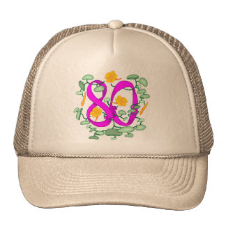 Floral 80th Birthday Gifts Cap