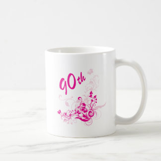 Floral 90th Birthday Gift Coffee Mug