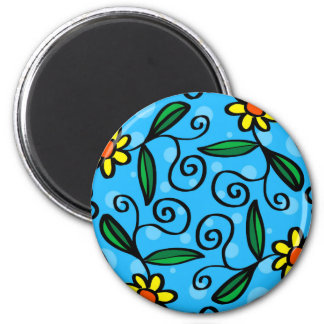 Floral Abstract 6 Cm Round Magnet