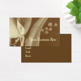 Floral Abstract Brown Chalk Flower Business Card