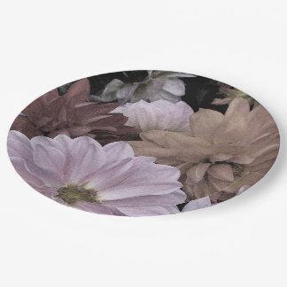 Floral Abstract Dahlia Garden Flowers Paper Plate