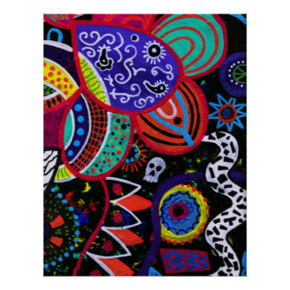 FLORAL ABSTRACT DAY OF THE DEAD POSTER