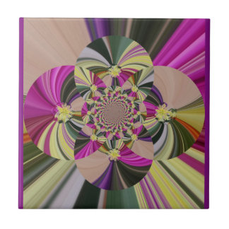 Floral Abstract Pattern Small Square Tile