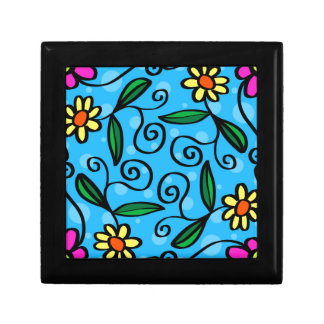 Floral Abstract Small Square Gift Box
