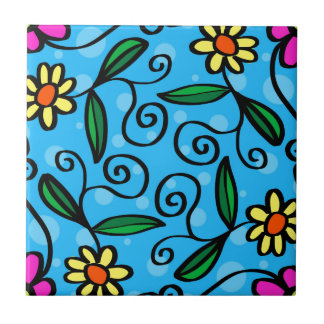 Floral Abstract Small Square Tile