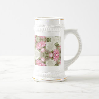 Floral Abstract Vintage Inspired Botanical Pattern Beer Stein