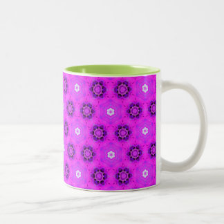 Floral Abstract Violet Modern Flower Hexagon Quilt Coffee Mugs