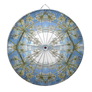 Floral abstraction dartboard with darts