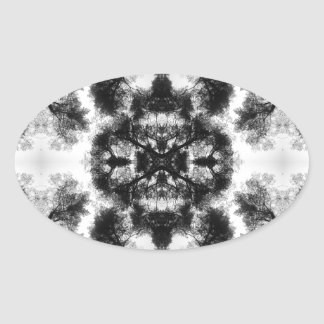 Floral abstraction oval sticker