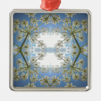 Floral abstraction Silver-Colored square decoration