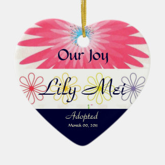 Floral Adoption Announcement Keepsake Ceramic Ornament