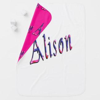 Floral Alison Girls Name Logo, Baby Blanket
