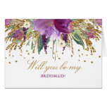 Floral Amethyst Will You Be My Bridesmaid Card