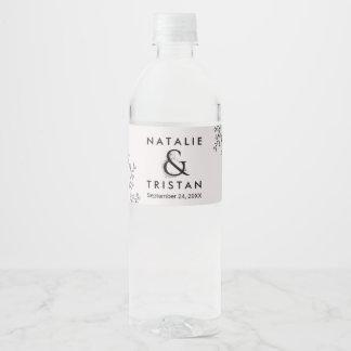 Floral Ampersand Wedding Water Bottle Label