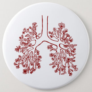 Floral Anatomical Lungs Illustration Button