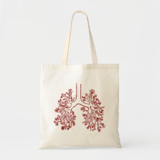 Floral Anatomical Lungs Illustration Tote