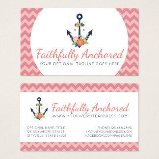 Floral Anchor Nautical Faith Navy & Coral Chevron Business Card