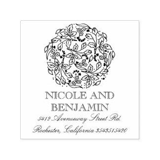 Floral and Elegant Vintage Bouquet Wedding Self-inking Stamp