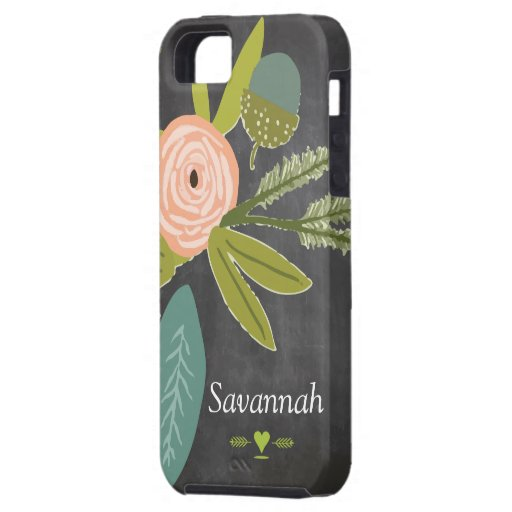 Floral and Fauna Chalkboard iphone 5 case