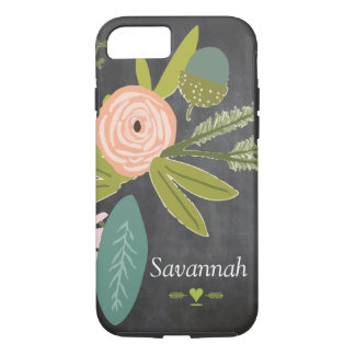 Floral and Fauna Chalkboard iPhone 7 Case