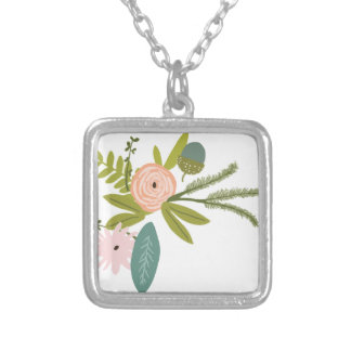 Floral and Fauna Silver Plated Necklace