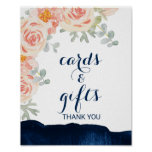 Floral and Navy Watercolor Cards and Gifts Sign