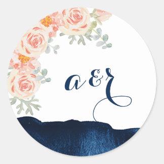 Floral and Navy Watercolor Wedding Envelope Seals