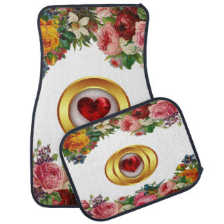 Floral and Red Heart Design Set of 4 Car Mats