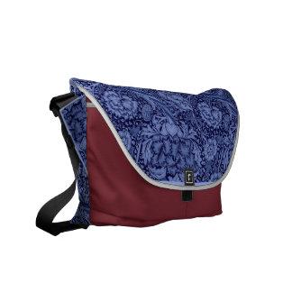 Floral and Ribbon in Blue Messenger Bag