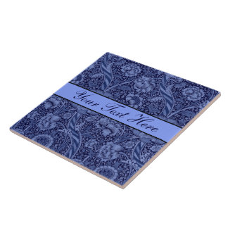 Floral and Ribbon in Blue Tile