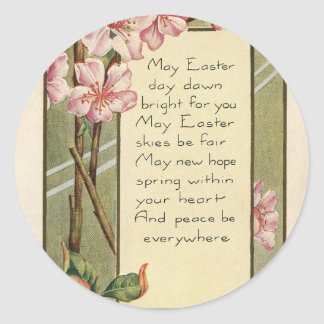 Floral Antique Vintage Happy Easter wish greetings Classic Round Sticker