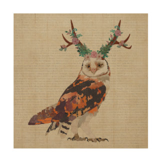 FLORAL ANTLER OWL Wooden Canvas Wood Wall Art