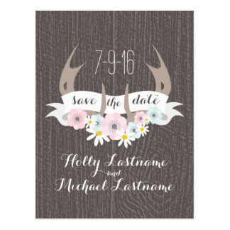 Floral Antlers + Barn Wood Wedding Save The Date Postcard