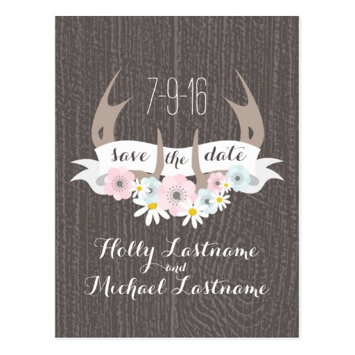 Floral Antlers + Barn Wood Wedding Save The Date Post Cards