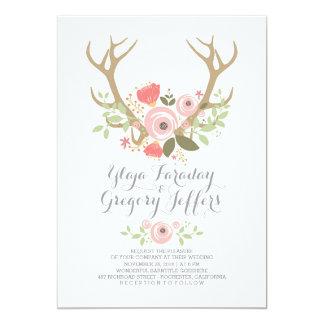 Floral Antlers Boho Wedding Invites