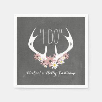 Floral Antlers Chalkboard Inspired Wedding Paper Napkin