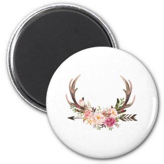 Floral antlers magnet