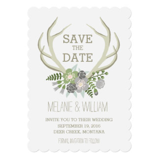 FLORAL ANTLERS | RUSTIC SAVE THE DATE 13 CM X 18 CM INVITATION CARD