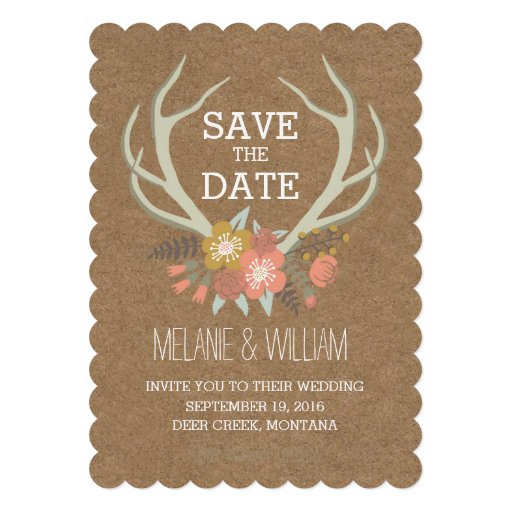FLORAL ANTLERS | RUSTIC SAVE THE DATE PERSONALIZED INVITE