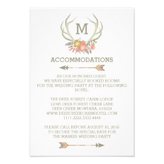 FLORAL ANTLERS RUSTIC WEDDING ACCOMMODATION CARD