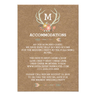 FLORAL ANTLERS | RUSTIC WEDDING ACCOMMODATION CARD CUSTOM INVITATIONS