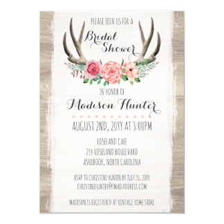 Floral Antlers Rustic Wedding Bridal Shower Custom Card