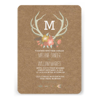 FLORAL ANTLERS RUSTIC WEDDING INVITATION CARDS