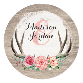 Floral Antlers Rustic Wedding Personalised Casual Card