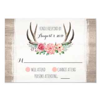 Floral Antlers Rustic Wedding Personalised RSVP Card