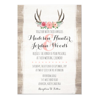 Floral Antlers Rustic Wedding Personalized Formal 13 Cm X 18 Cm Invitation Card