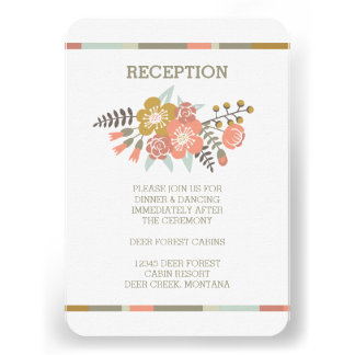FLORAL ANTLERS RUSTIC WEDDING RECEPTION INVITE