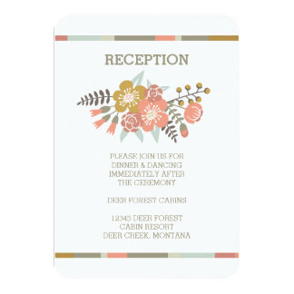 FLORAL ANTLERS   RUSTIC WEDDING RECEPTION INVITE