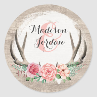 Floral Antlers Rustic Wood Wedding Personalised Classic Round Sticker