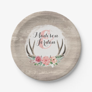 Floral Antlers Rustic Wood Wedding Personalized 7 Inch Paper Plate